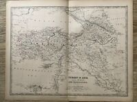 1869 Turkey Kurdistan Armenia Caucasus Hand Coloured Antique Map by Johnston