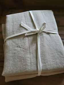 Williams Sonoma 70x90 Linen Double Hemstitch Tablecloth Flax