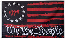 Betsy Ross 1776 We The People Black & Red USA American Flag 3x5ft banner