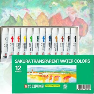 New! 12 Colours SAKURA Artists Transparent Watercolour Paints Tubes Set Art