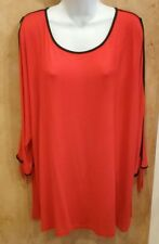 NWT $60, CABLE & GAUGE Women's Plus Size 3X Red 3/4 Opened Sleeve Top Blouse