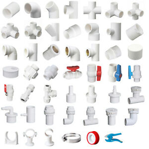 White PVC 20mm ID Pressure Pipe Fittings Metric Solvent Weld Various Parts