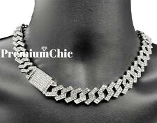 "16"" or 18"" ICED Miami Cuban Choker Chain Necklace Diamond Prong Hip Hop Jewelry"