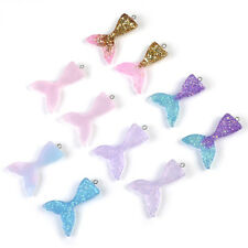 10 Mixed Glitter Mermaid Fish Tail Resin Pendant Fit Earring Bracelet Jewelry