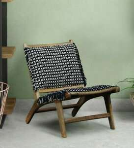 LOUNGE CHAIR BLACK & WHITE RELAX SEATING LIVING ROOM COMFORT HANDMADE FABRIC