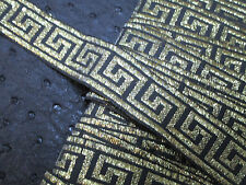 "3 yards in 7/8"" width greek key pattern poly embroidery trim in black and gold"