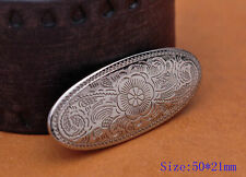 10Pcs Silver Plated Western Engraved Floral Leathercraft Oval Conchos Screwback
