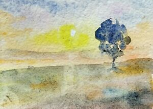 original watercolor painting ACEO village tree river rural sunset sky by SIBY