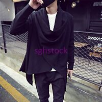 Korean Fashion Mens Cardigan fleece Cape Cloak Long Sleeve Casual Coat Jacket