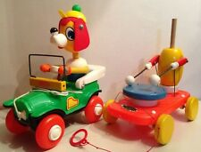 LOT 2 JOUETS VINTAGE A TRACTER EDUCALUX MADE IN FRANCE / CHIEN - TACOT
