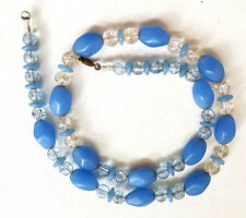 Vintage Art Deco Crackle Glass Blue Frosted Glass Bead Necklace