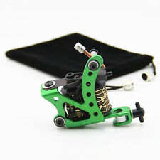 Green Steel Frame Coil Tattoo Machine Tattoo Gun 10 Wrap Coils for Liner Shader