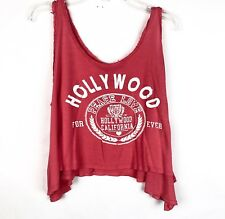 EH  Womens Tank Top Hollywood California Top Size M Pink Salmon Red Asymmetrical