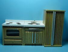 Dollhouse Miniature Complete Modern Kitchen Set in Oak ~ T4533