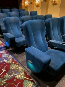 Lot 48 used HOME THEATER SEATING real cinema movie chairs seats blue velvet