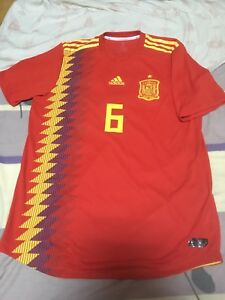 100% Official Andres Iniesta Spain World Cup 2018 Home Jersey Shirt Authentic