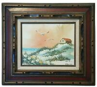 Original Oil Painting Sunset Seascape Blue Ocean Beach Carved Wood 3D Frame 17""