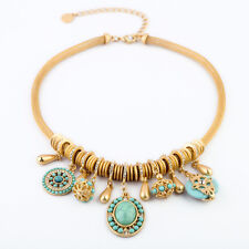 Women's Designer Inspired Fashion Turquoise Crystal Drops Gold Necklace