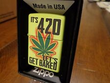 MARIJUANA WEED CANNABIS POT LEAF IT'S 420 4:20 LET'S GET BAKED ZIPPO LIGHTER