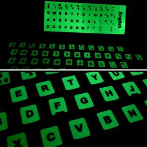 English Italian German Spanish French Hebrew Notebook Luminous Keyboard Stickers