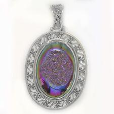 Offerings Sajen 925 Sterling Silver Rainbow Window Druzy Pendant