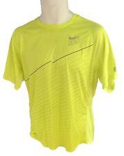 New NIKE RUN Mens DriFit Stay Cool Ventilated Gym Top Shirt Lemon Zest M