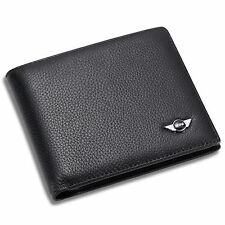 MINI Cooper Bifold Black Wallet Genuine Leather with 6 Credit Card Case Men Gift