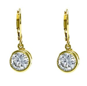 4CTW Bezel Set 8MM Solitaire Clear CZ Yellow GEP Lever Back Hoop Earrings