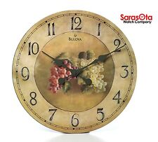 "Bulova C3260 Whittingham Fruit Pattern Dial Antique Style Round 18"" Wall Clock"