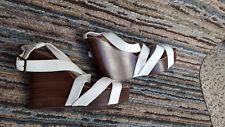 "Ralph Lauren Dawn Platform Leather Strap Wedge Sandal 5"" White Ladies 10 B"