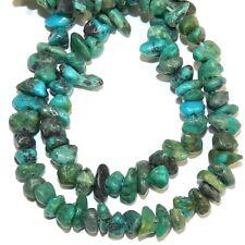 "GC121 Blue-Green Turquoise w Matrix Mini-Small 4mm - 7mm Gemstone Chip Beads 15"""