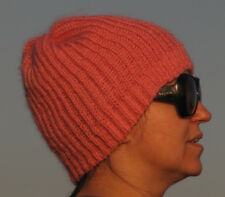 MOHAIR Hand Knitted FLAMINGO Hat Fuzzy Warm Head Soft Unisex One Size Fluffy