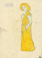 Ben Carrivick - Contemporary Oil, Female Figure in Yellow