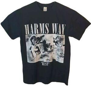 Harms Way Rust Mens M Gildan Graphic T-Shirt Black Crew Neck Vintage Tee