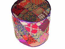 """Bohemian Embroidered Round Pouf Floor Seat Cover - Traditional Large Ottoman 18"""""""