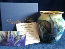More details for freehand painted humming bird vase inside and out by sandra selby