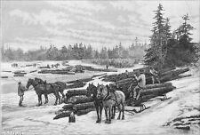 CANADA - LES BÛCHERONS du QUÉBEC: DESCENTE de RADEAUX - Gravure du 19e siècle