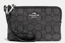 Coach Wallets Wrstlets F54627 Outline Signature Corner Zip Black