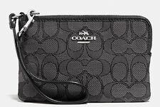 Coach Wallets Wrstlets F54627 Outline Signature Corner Zip Black