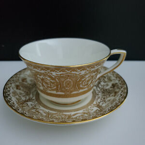 Royal Worcester Demitasse Cup and Saucer Set(s) Embassy White and Gold  Pattern.