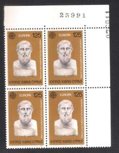 CYPRUS 1980 EUROPA ZENON BLOCK OF 4 with CONTROL NUMBER PRINTED DOUPLE ERROR MNH