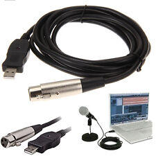 3m 9ft XLR Female to USB 2.0 Male Cable Cord Adapter Microphone Link Black 170g