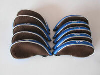 10x Mesh Golf Club Iron Head Covers Zipper Headcover Left&Right Handed Blue
