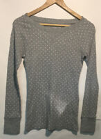 Old Navy Womens Crew Neck Long Sleeve Pullover Shirt Top Gray Dot Size S