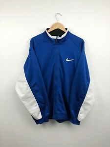 Vintage 90's NIKE Track Top Jacket Zip Big Swoosh Logo Blue Mens XL