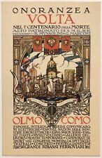 ONORANZE A VOLTA NEL I° CENTENARIO COMO 1927 cartolina illustratore Cisari