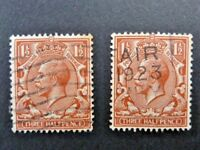 362/332] - GB STAMPS  -  KING GEORGE V   2x  1.5d FINE USED RED BROWN -