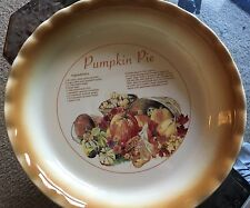 Vintage Pumpkin Pie Plate With A Recipe By Nantucket 10""