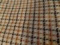 3 1/8 Yrds 56 Wide Polyester Tan & Black Plaid Material/Fabric #4700