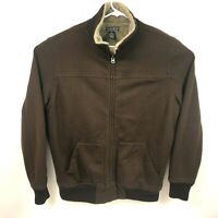Lucky Brand Mens Full Zip Jacket Vintage Inspired Brown Sherpa Lined Size XL